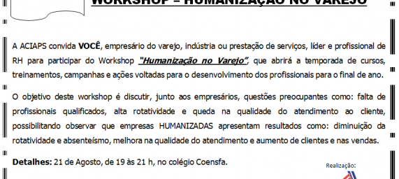 "Workshop ""Humanização no Varejo"""